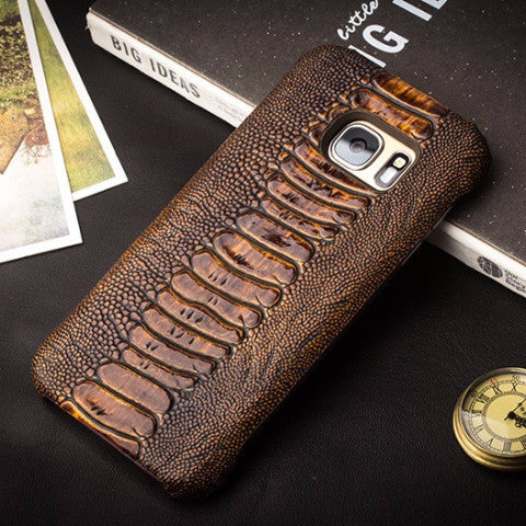 Samsung Galaxy S7, S7 Edge Ostrich Texture Leather Case
