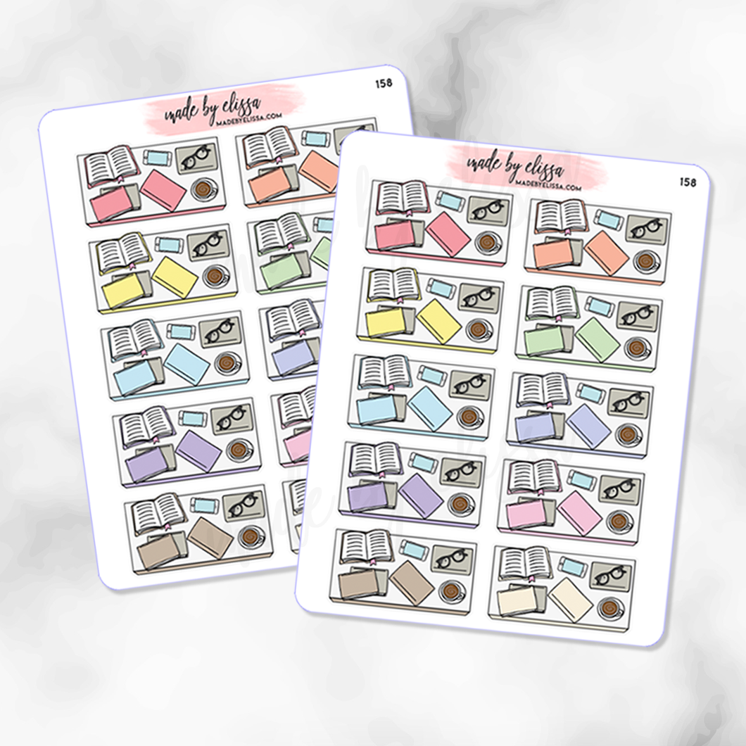 Book & Coffee Flatlay Planner Stickers