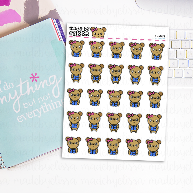 Reading Lucy the Bear // Planner Stickers