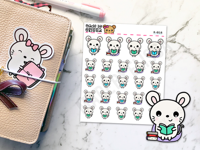 Bookworm Ruby v1 // Planner Stickers