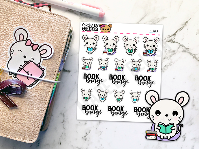 Bookworm Ruby v2 // Planner Stickers