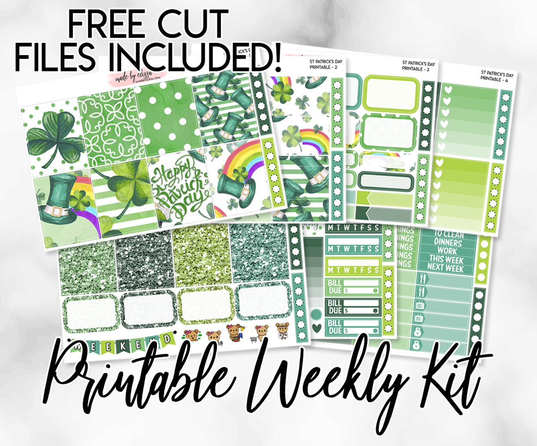 St Patrick's Day Printable Weekly Sticker Kit // Free Cut Files!