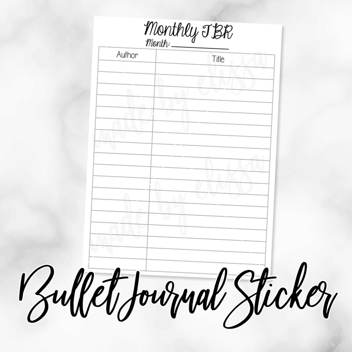 Monthly To Read (List Format) Bullet Journal Sticker