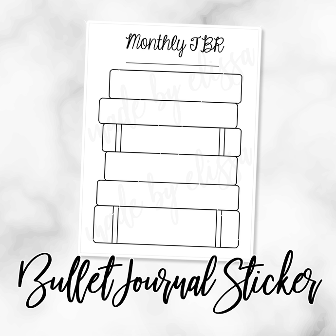 Monthly To Read (Book Stack) Bullet Journal Sticker
