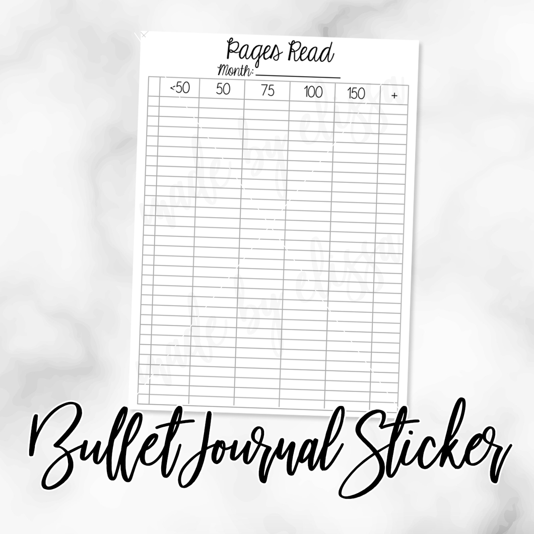 Pages Read Bullet Journal Sticker