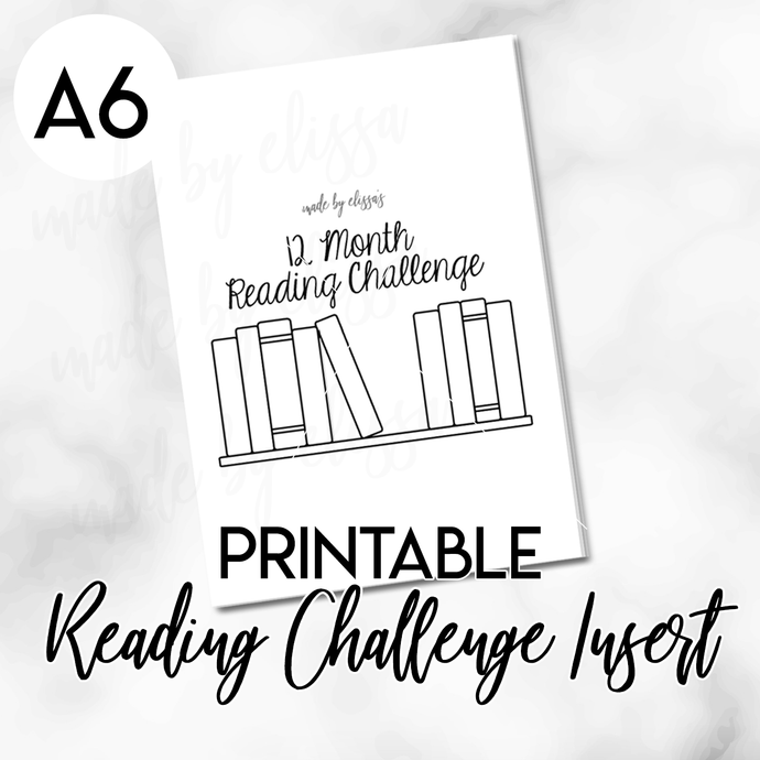 PRINTABLE A6 Travelers Notebook - 12 Month Reading Challenge Planning Insert