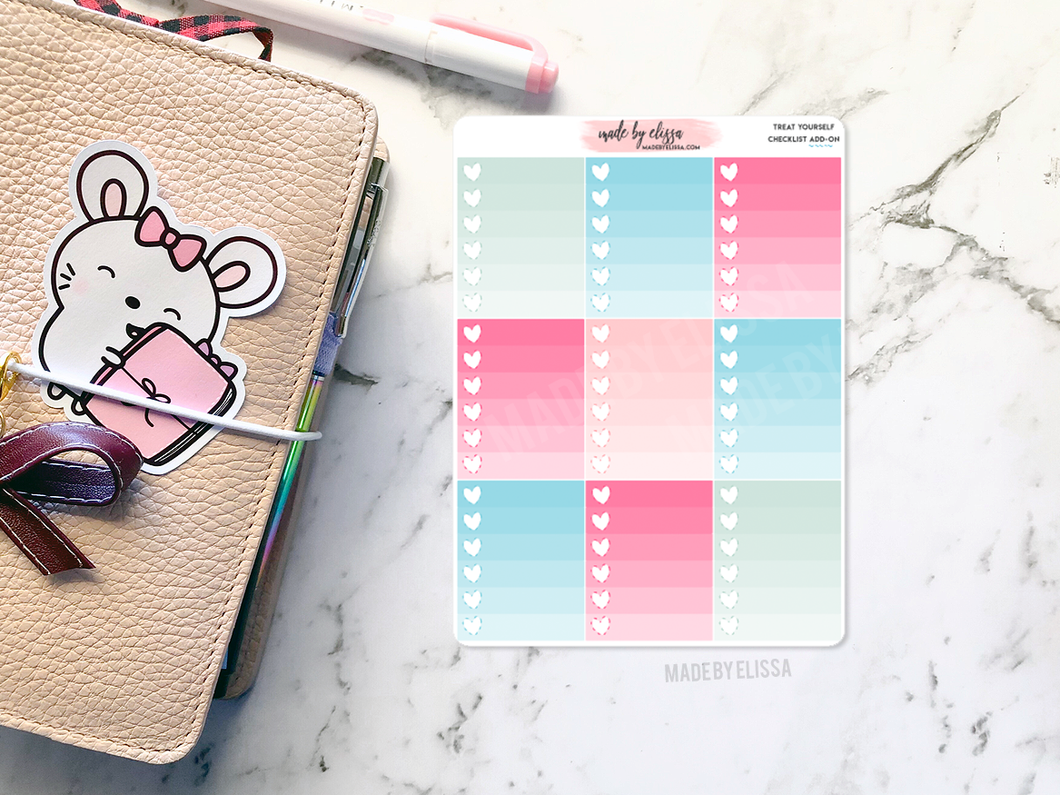 Treat Yourself Add-On - Heart Checklist Stickers
