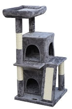 Feline Go Cat Tree  2 Homes & 1 Bed - Grey