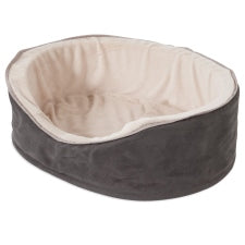 Aspen Pet Plush Suede Oval Lounger Bed Small 27173
