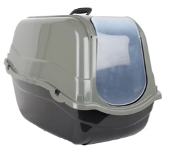 Hooded Cat Litter Tray Eco Green / Grey