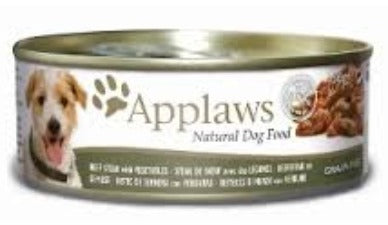 Applaws Dog Food - Beef Steak & Vegtables 12 x 156g tins