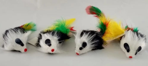Penn Plax Assorted Rattling Mice with feathers (1 piece)