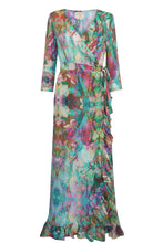 Liquid Rainbow Ruffle Wrap Dress