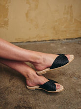 Apple Black Raffia Slide
