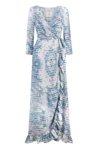Aqua Pink Snake Ruffle Wrap Dress