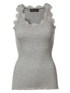 Rosemunde Light Grey Lace Silk Top
