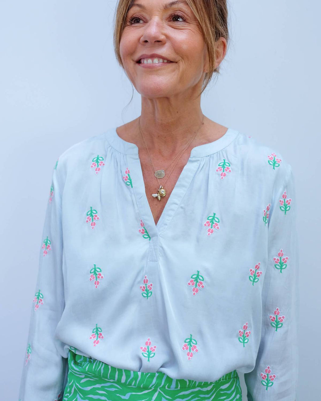 Primrose Park Sandy Embroided Open Shirt