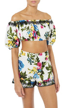 Floral Print Puff Sleeve Crop Top