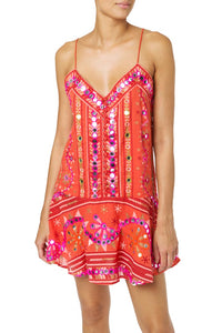 Juliet Dunn Tomato Tribal Slip Dress