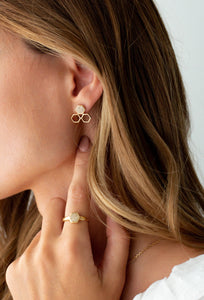 Pureshore Mosaic trio Earrings in Gold Vermeil with White Diamonds