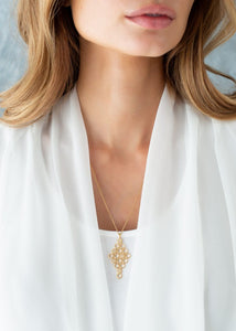 Pureshore Mosaic Necklace in 18kt Yellow Gold Vermeil with White Diamonds