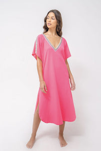 Pitusa Solid V-Back Dress Neon Fuschia
