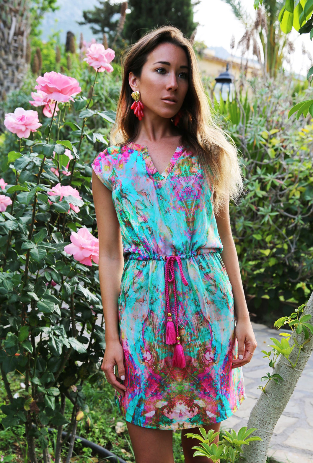 Liquid Rainbow Tassel Dress