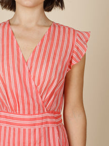 Indi & Cold Striped Wrap Dress Coral