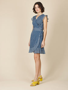 Indi & Cold Striped Wrap Dress Navy