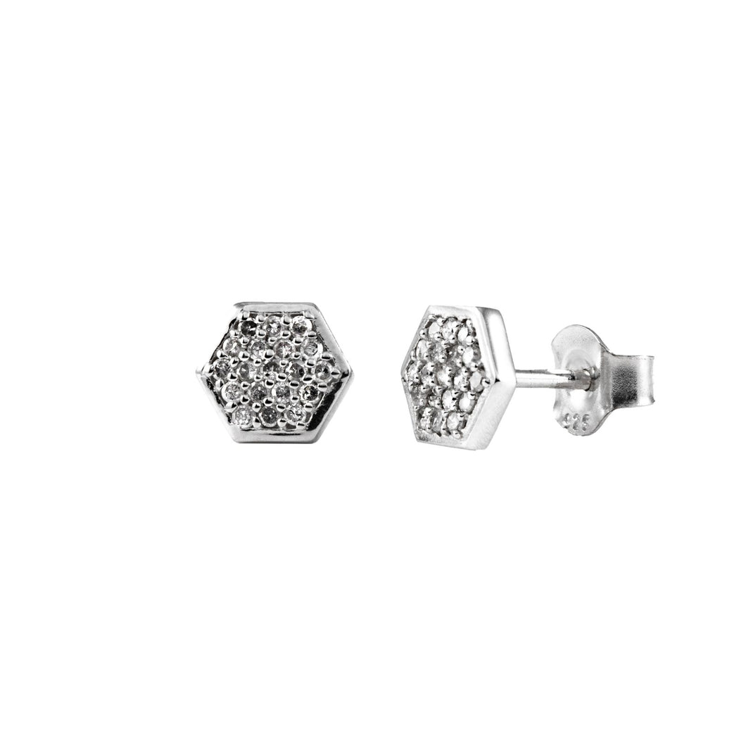 Pureshore Mosaic stud Earrings in Black Rhodium plating with White Diamonds