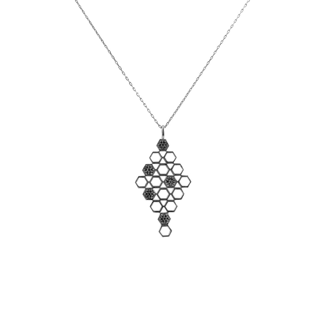 Pureshore Mosaic Necklace in Black Rhodium with Black Diamonds