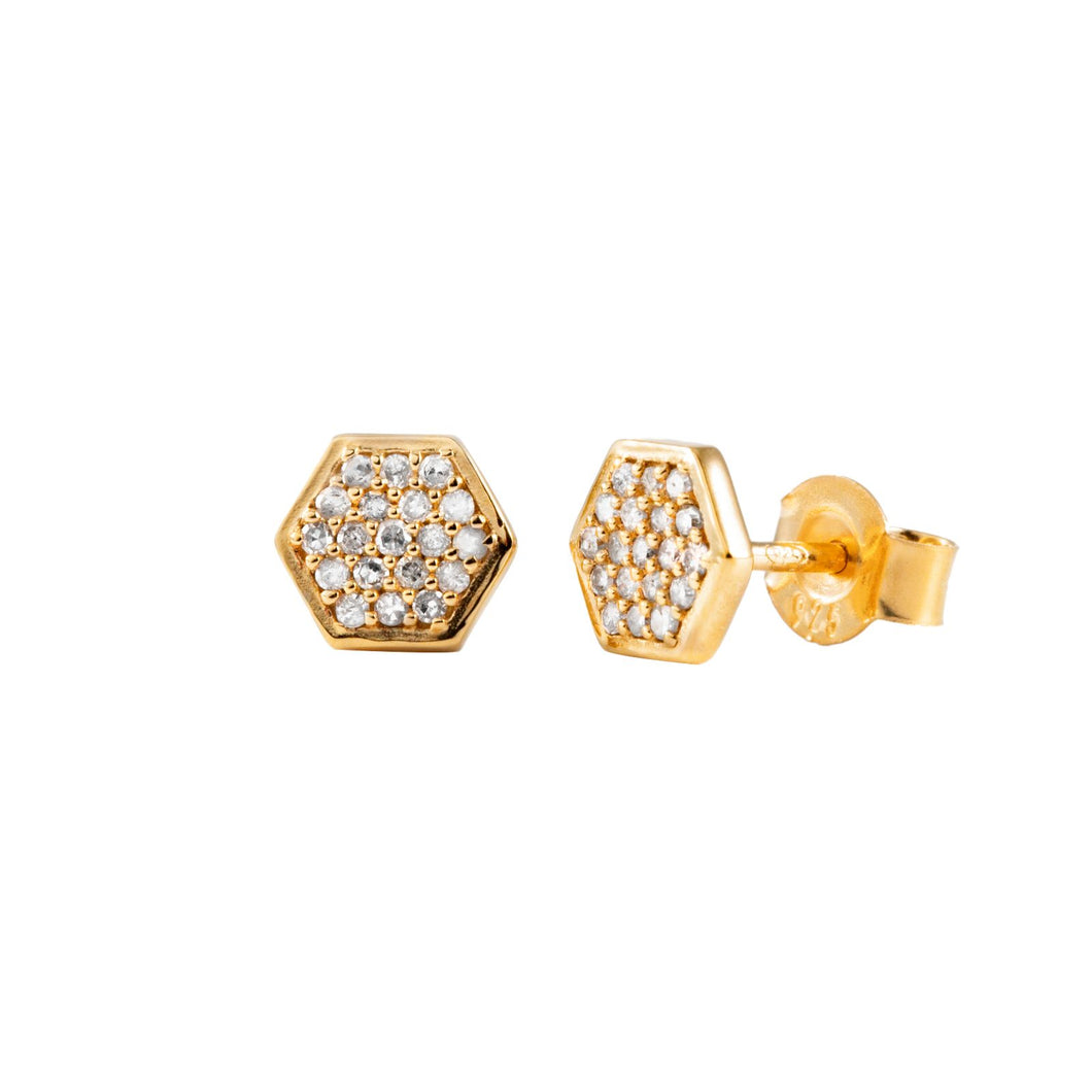 Pureshore Mosaic stud Earrings in Yellow Gold Vermeil with White Diamonds