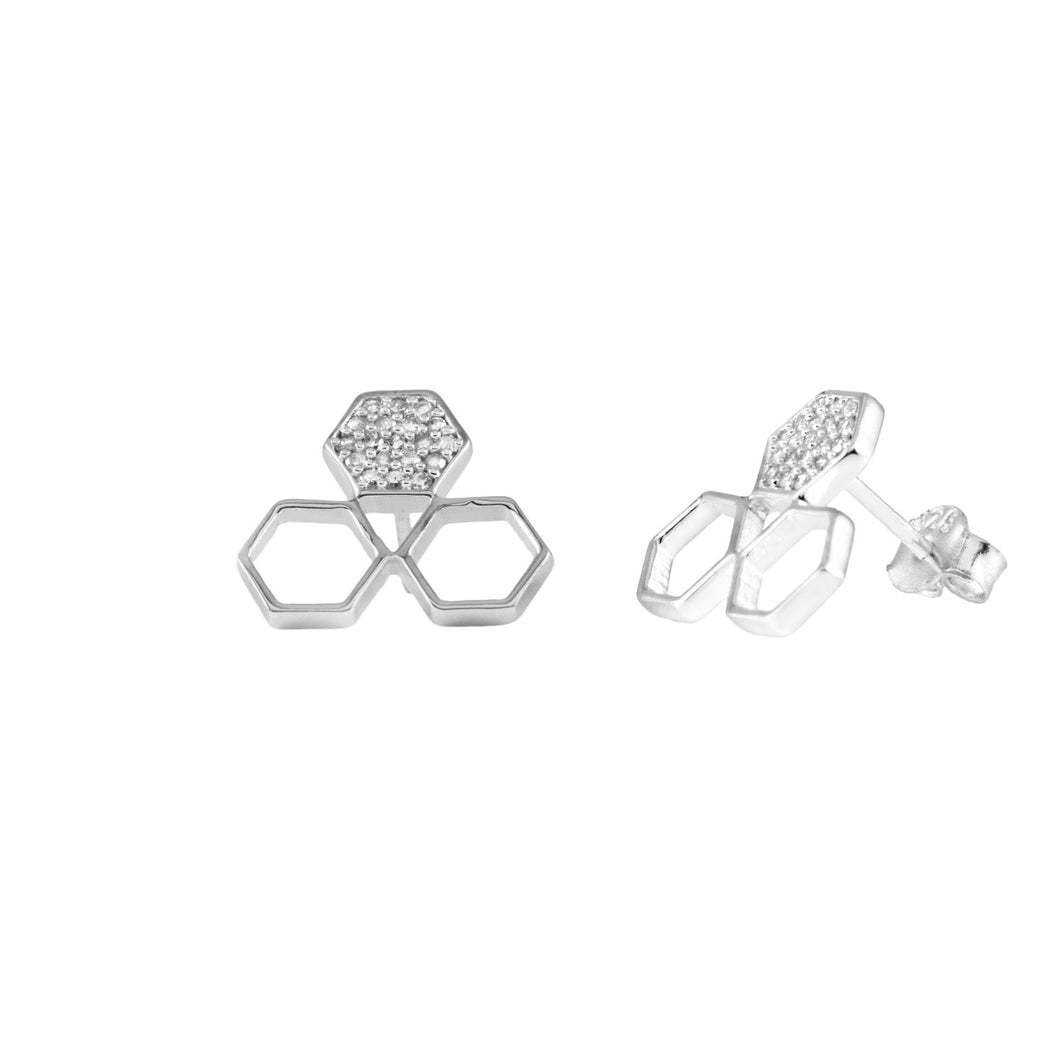 Pureshore Mosaic trio Earrings in Sterling Silver with White Diamonds
