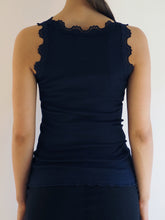 Rosemunde Navy Lace Silk Top