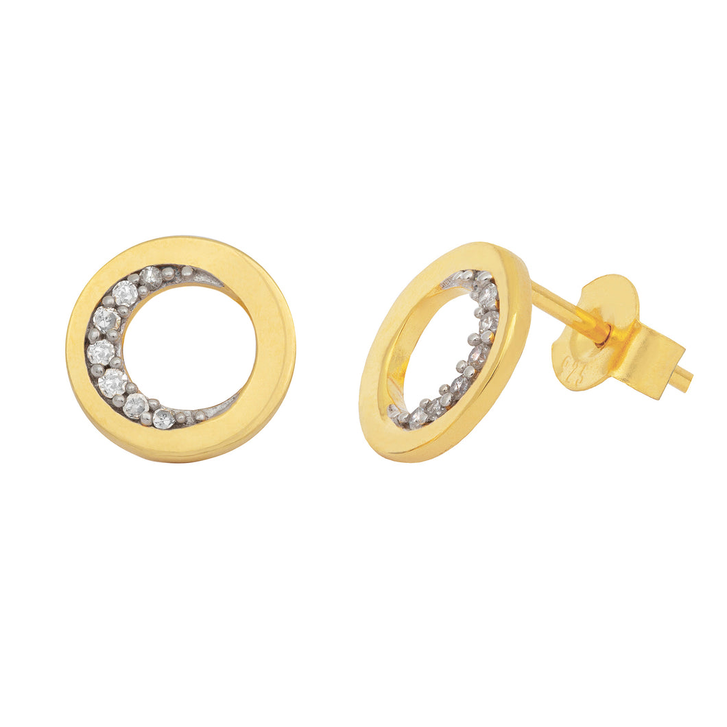 Pureshore Ola Earrings in 18k Yellow Gold Vermeil with White Diamonds