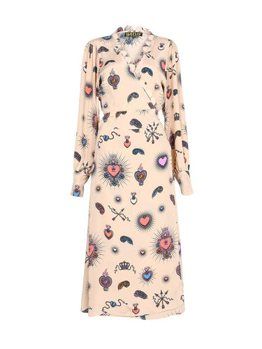 Stardust Scallop Heart Beige Midi Dress