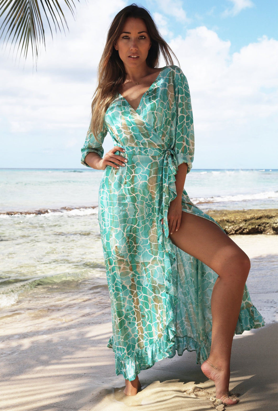 Aqua Pebbles Ruffle Wrap Dress