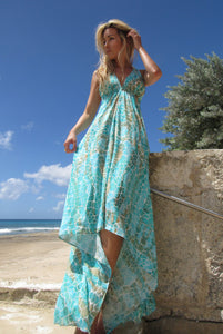 Sophia Alexia Aqua Pebbles Silk Ibiza Dress
