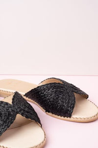 Cara Apple Black Raffia Slide