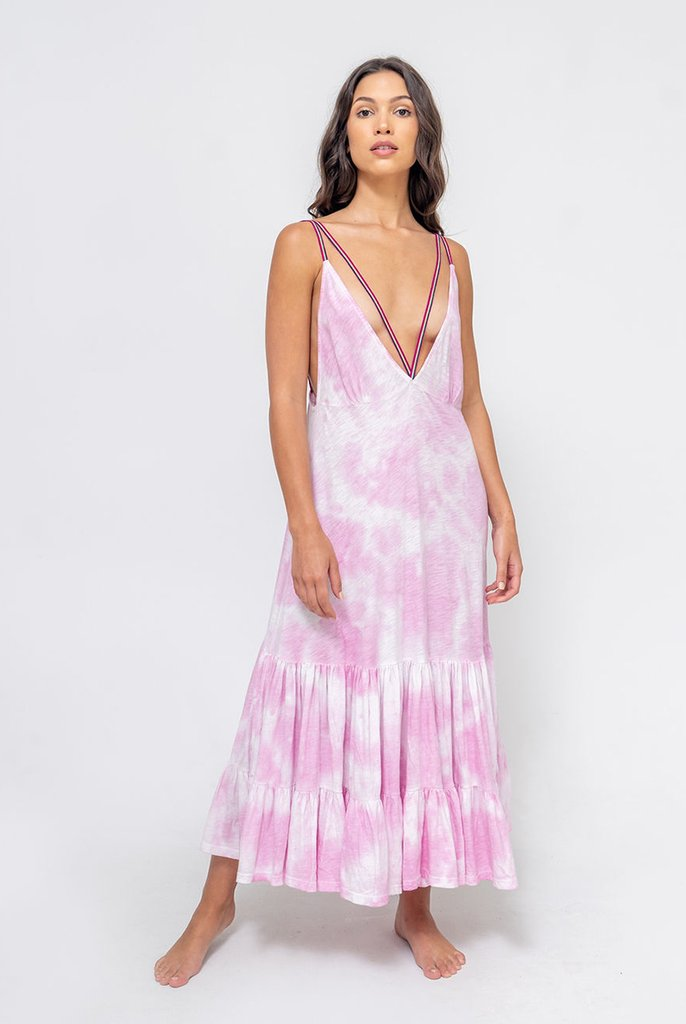 Pitusa Tie Dye Strappy Midi Dress Bubblegum Pink