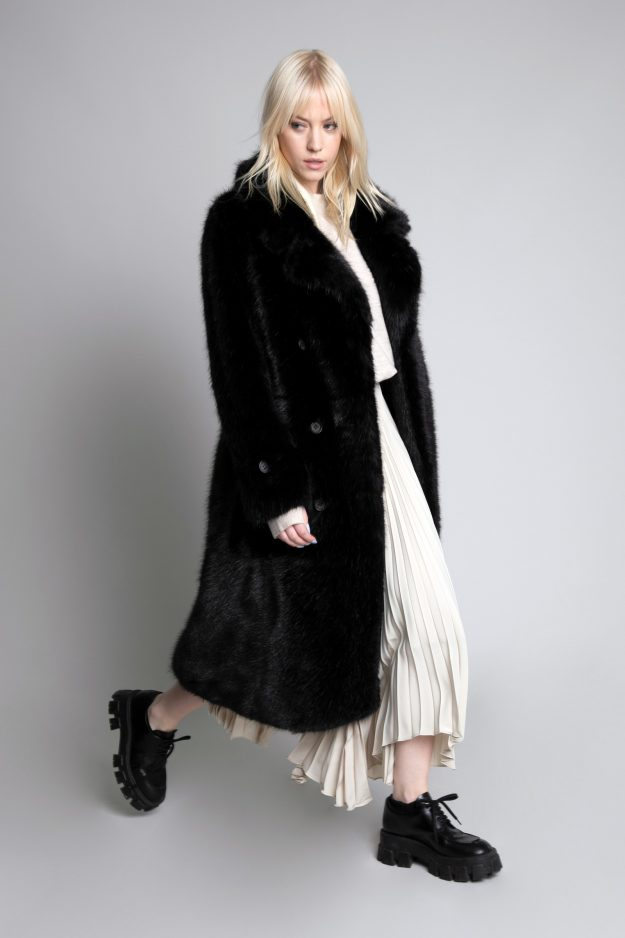 Urbancode Black Fux Fur Coat
