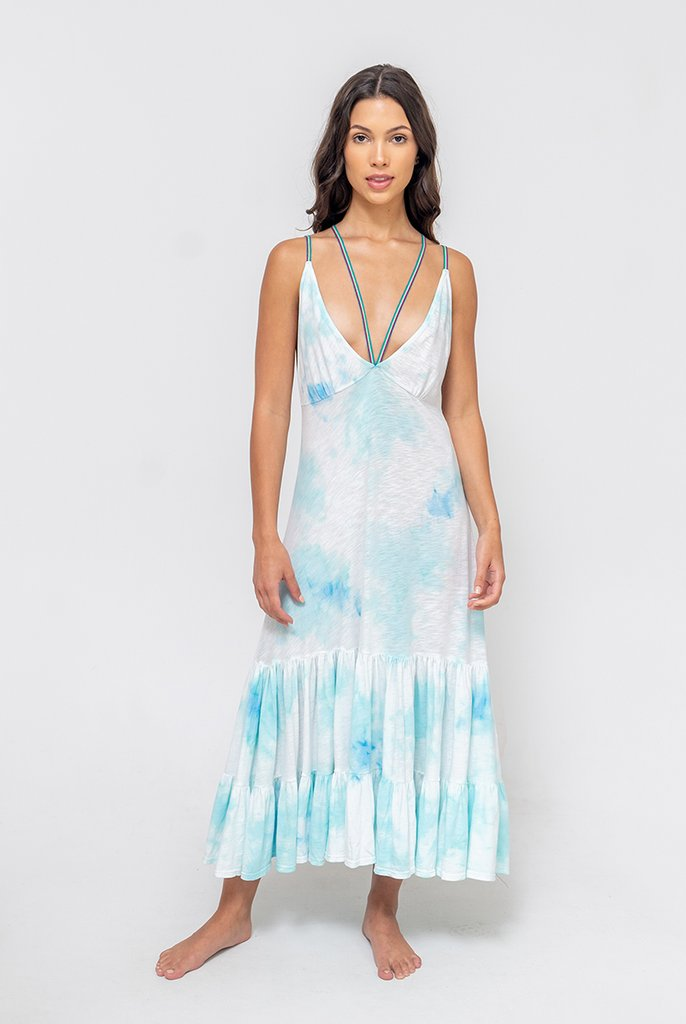 Pitusa Tie Dye Strappy Midi Dress Light Blue