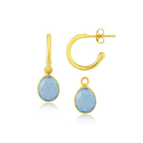 Auree MANHATTAN GOLD & BLUE CHALCEDONY INTERCHANGEABLE GEMSTONE EARRINGS