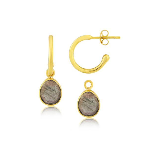 Auree MANHATTAN GOLD & LABRADORITE INTERCHANGEABLE GEMSTONE EARRINGS