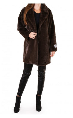 Rino & Pelle Joela Dark Chocolate Mid Length Faux Fur Coat