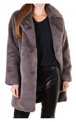 Rino & Pelle Joela Dark Grey Mid Length Faux Fur Coat