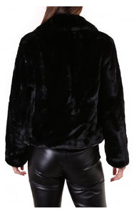 Rino & Pelle Juna Black Faux Fur Coat