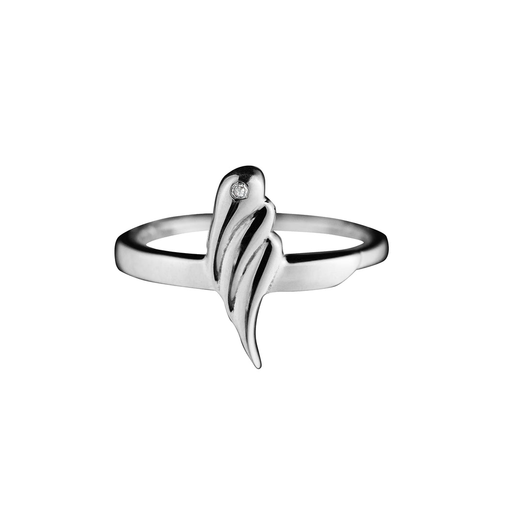 Pureshore Tulipa Ring in Sterling Silver with a White Diamond.