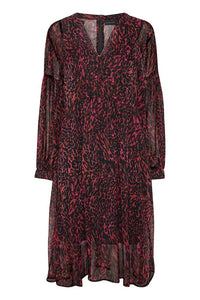 Karen BY Simonsen Pink Leopard Midi Dress