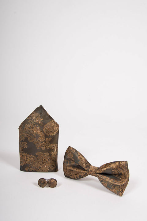 Gold Tan paisley Bow Tie Set-Bow tie, pocket square, Cufflinks.